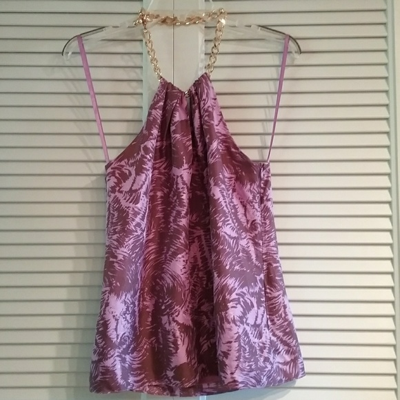 Milly of New York Tops - Milly purple halter top with chain neckline.